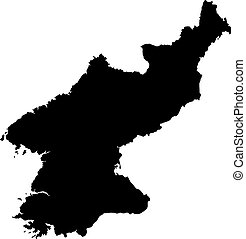 North Korea map - Black map of North Korea on a white...