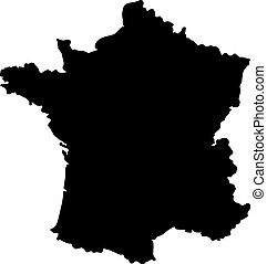 Map of France - Black clip art map of France on white...