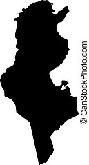 Tunisia vector map silhouette isolated on white background...