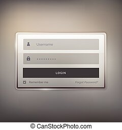shiny login user interface design for website and application