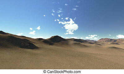 3d Desert animation, a rocky landscape, mountains and stones...
