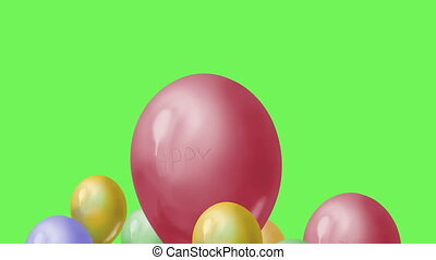 Flying balloons on green screen - 3d animation of Flying...