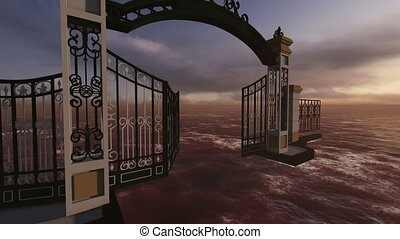 gate to heaven made in 3d software - animation of gate to...