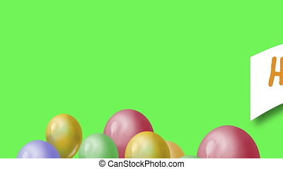 Flying balloons and word happy birthday on green screen