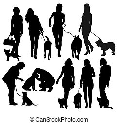 People and Dog Silhouettes