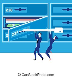Bank deposit box concept vector illustration in flat style....