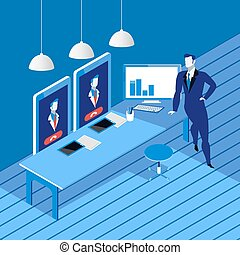 Videoconferencing concept vector illustration in flat style...