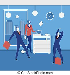 Office workers concept vector illustration in flat style -...