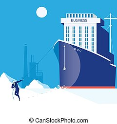Business hardship, leadership concept vector illustration in flat style