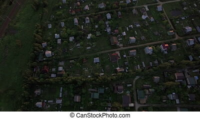Top view of country houses in sunset at summer, Russia -...