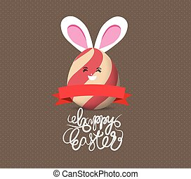 Happy easter eggs with rabbit ears