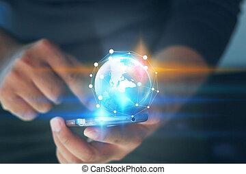 rede, telefones, conceito, homem negócios, conectado,  social, mundo, esperto