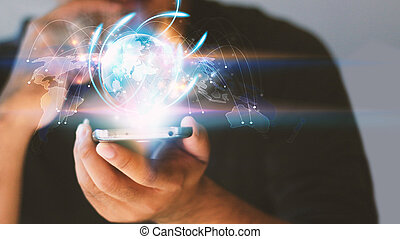 Businessman holding glowing globe. Business connection concept, social network concept.
