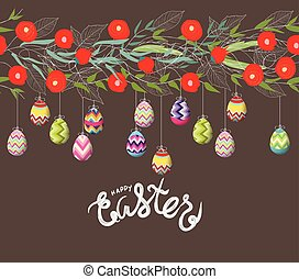 easter eggs hanging on the florals