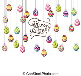 easter eggs hanging on the wire background