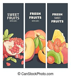 Bright fruit cards - Bright fruit fresh cards with dark...