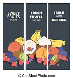 Fresh fruit cards - Fresh bright fruit cards with bananas,...