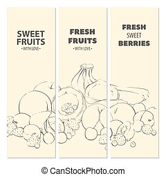 Outline fruit cards - Outline fresh ripe fruit light cards