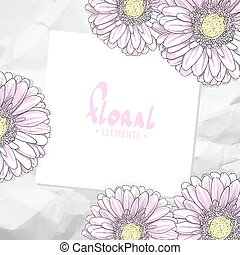Floral card template - Bright floral template with crumpled...