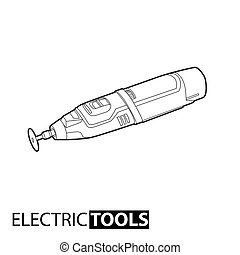 Outline electric drill on white background
