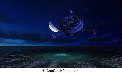 UFO is flying over the ocean - 3d animation UFO is flying...
