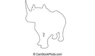 Rhino walks - separated on white background - 3d animation...