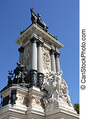 Retiro park - Monument in Retiro park in Madrid, Spain. King...