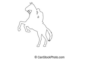 man galloping - seperated on white background - 3d animation...