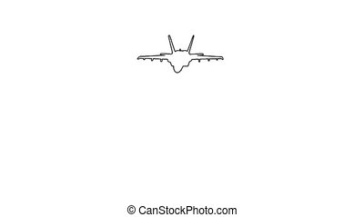 Airplane in flight - white screen - Animation of Airplane in...