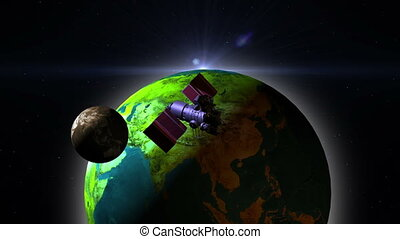 Telecommunication Satellite with solar panels flying over...