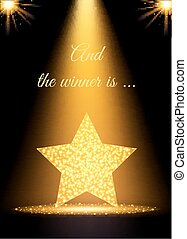 Spotlight gold background. Wiinner concept with star. Vector illustration.