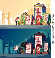 Set vector cartoon illustration of an urban landscape with...