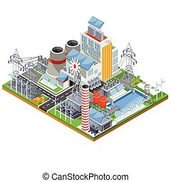 Isometric vector illustration of a thermal thermal power plant running on alternative sources of energy.