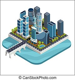 Vector isometric 3D illustrations of modern urban quarter with skyscrapers, offices, residential buildings