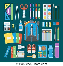 School bag vector set. - School bag. Backpack full of school...