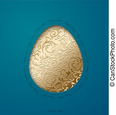 Easter greeting card with paper cut egg golden floral pattern. Turquoise background. Happy Easter text around