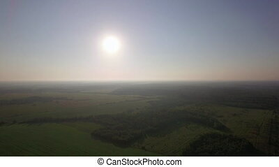 Aerial green landscape and sunshine - Aerial landscape with...