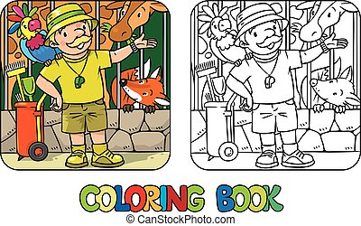 Coloring book of funny zoo keeper with parrot - Coloring...