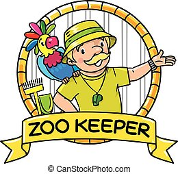 Funny zoo keeper with parrot. Emblem - Funny zoo keeper or...