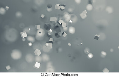 Abstract 3D Rendering of Flying Cubes. - Abstract 3d...