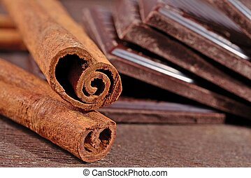 Cinnamon sticks and pieces of chocolate