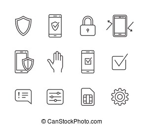 Mobile network operator icons - Mobile security icons....