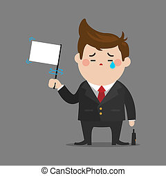Businessman give up - sad businessman give up with a white...
