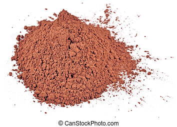 Heap of cocoa powder on a white