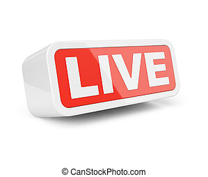 Live - white with red 3d sign.