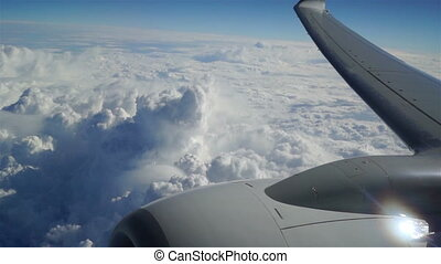 Fly air cloud viev move sky - Traveling by air above clouds....
