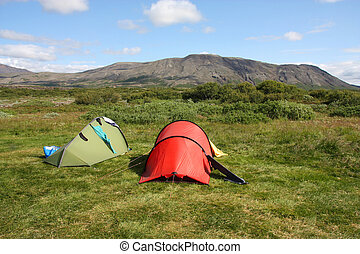 Campsite - Campground in Thingvellir - famous tourist area...
