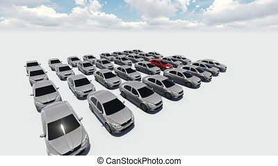 Hundreds of Cars, One Red - 3d animation - Hundreds of Cars,...