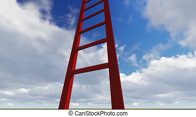 Ladders showing the pathway to the top - 3d animation -...
