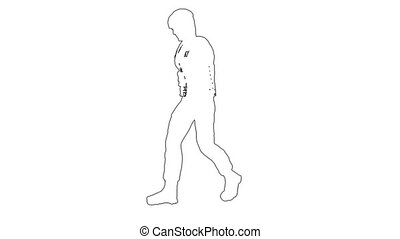 Silhouette of man walking . On white screen HD 2d line...